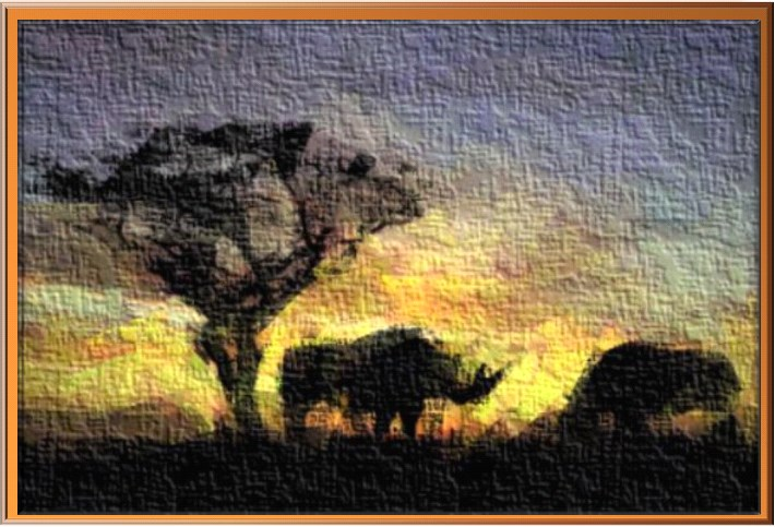 Landscape of two rhinos with sunset in background
